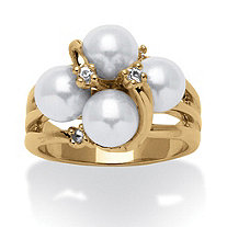 Round Simulated Pearl Austrian Crystal Accent 14k Yellow Gold-Plated Ring