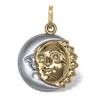 Sun and Moon Drop Pendant in Two-Tone 14k Gold