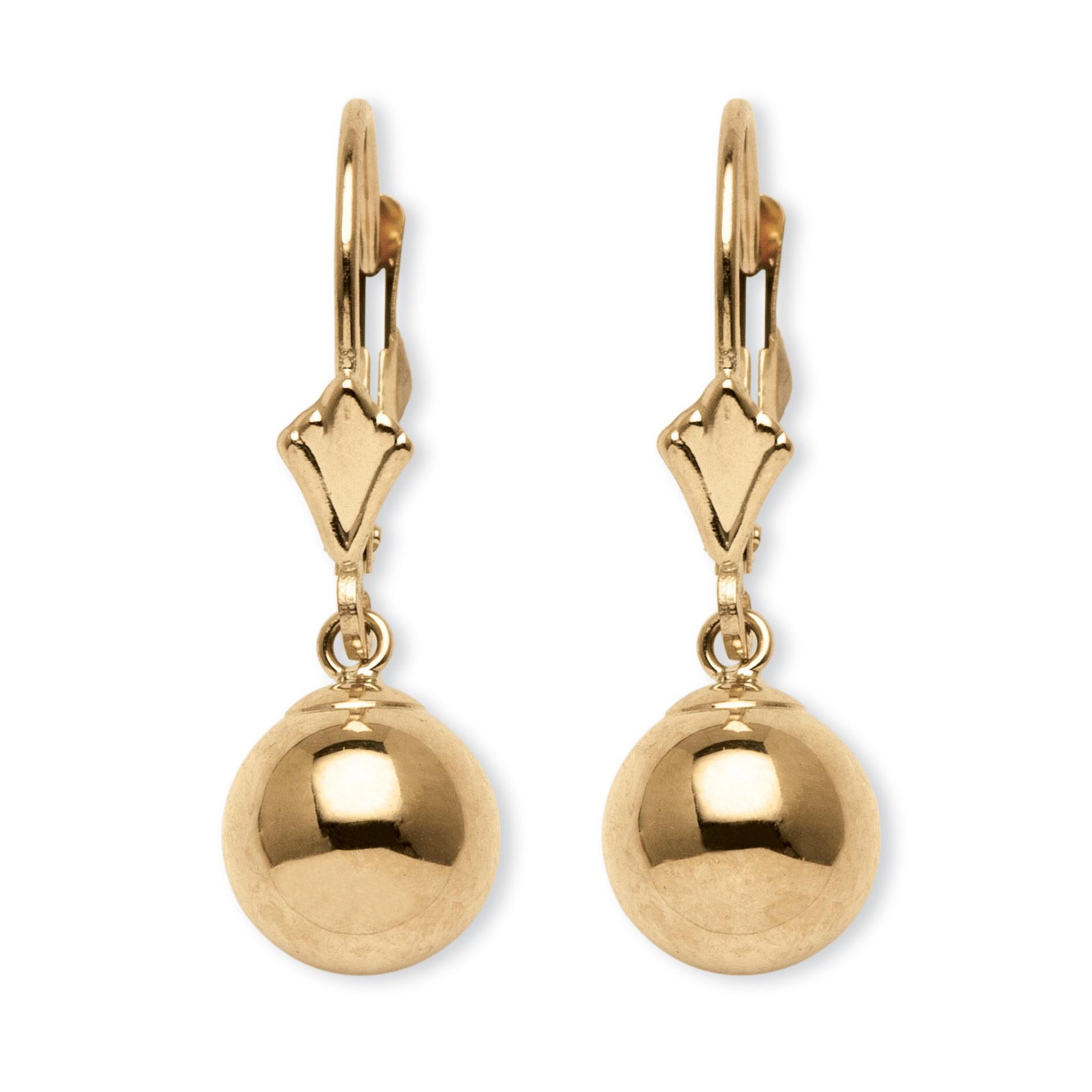 palmbeach jewelry ball drop earrings in 14k yellow gold ebay. Black Bedroom Furniture Sets. Home Design Ideas