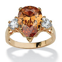 6.41 TCW Pear Cut Champagne-Color Cubic Zirconia Ring 14k Yellow Gold-Plated