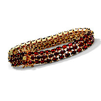 27.50 TCW Oval-Cut Garnet 14k Yellow Gold Over Sterling Silver Triple-Row Tennis Bracelet 8 1/2""