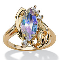 Marquise-Cut Aurora Borealis Crystal White Crystal Accent 14k Yellow Gold-Plated Loop Ring