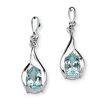 2.20 TCW Pear-Cut Blue Topaz Drop Earrings in Sterling Silver