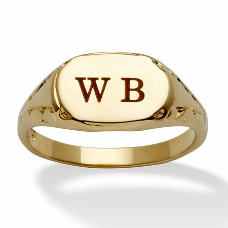 14k yellow gold plated personalized initial ring palm