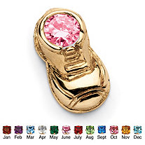 Round Simulated Birthstone 14k Yellow Gold Baby Bootie Charm