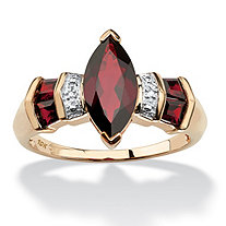 2.84 TCW Marquise-Cut Genuine Garnet Diamond Accent 10k Yellow Gold Ring