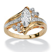 1.03 TCW Marquise-Cut Cubic Zirconia 14k Yellow Gold-Plated Engagement Anniversary Ring