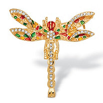 Multi-Color Crystal Enamel Dragonfly Pin in Yellow Gold Tone