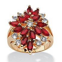 Marquise-Cut Red Crystal Flower Cocktail Ring in 18k Gold-Plated