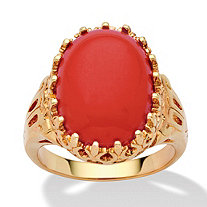 Oval Cut Simulated Coral 14k Yellow Gold-Plated Cocktail Ring