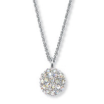 Aurora Borealis Crystal Silvertone Disco Ball Drop Pendant and Chain 20""