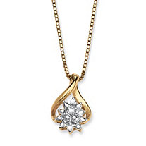Diamond Accent 10k Yellow Gold Cluster Drop Pendant and Chain 18