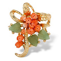 Genuine Coral and Agate Bouquet Pin in Yellow Gold Tone
