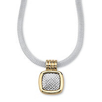 14k Gold-Plated Silvertone Slide Pendant and Mesh-Chain Necklace 17