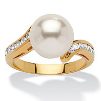 Round Simulated Pearl Cubic Zirconia Accent 14k Yellow Gold-Plated Ring
