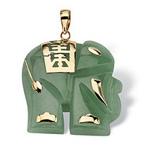 "Jade 14k Yellow Gold ""Good Fortune"" Elephant Pendant"