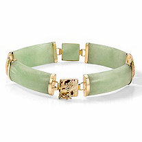 Green Genuine Jade 14k Yellow Gold Macaroni-Link Bracelet 7 1/4""