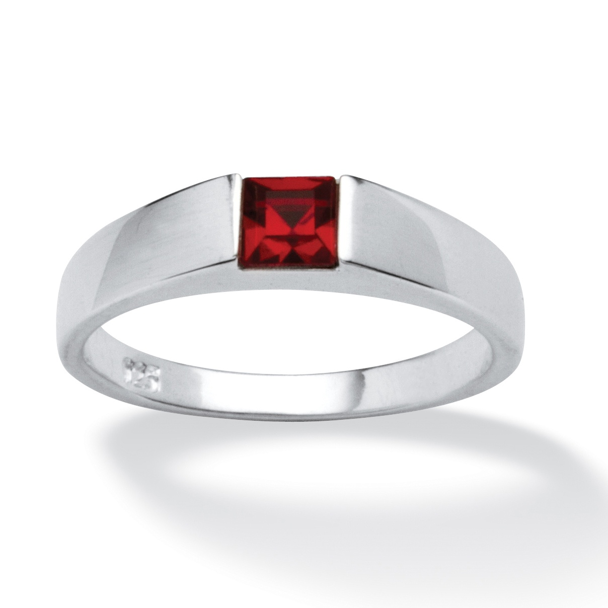 L'il Bam Bino Princess-Cut Birthstone Sterling Silver Stackable Ring- July- Simulated Ruby