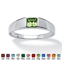 Princess-Cut Birthstone Stackable Ring in Sterling Silver