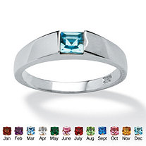 Princess-Cut Simulated Birthstone Sterling Silver Stackable Ring