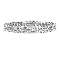 28.60 TCW Oval Cut Cubic Zirconia Sterling Silver Triple-Row Tennis Bracelet 8 1/2""