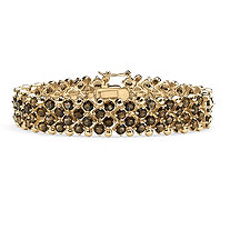 20.00 TCW Round Genuine Smoky Quartz 14k Yellow Gold-Plated Tennis Bracelet 7 1/4""