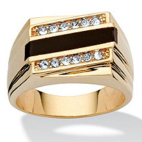 Men's Emerald-Cut Genuine Onyx Crystal Accent 14k Yellow Gold-Plated Classic Ring