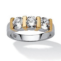 1.50 TCW Cubic Zirconia Bridal Ring in Two Tone Sterling Silver with Golden Accents
