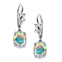 5.08 TCW Oval-Cut Aurora Borealis Cubic Zirconia Drop Earrings in Sterling Silver