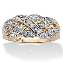 1/4 TCW Round Diamond 10k Gold Braid Ring