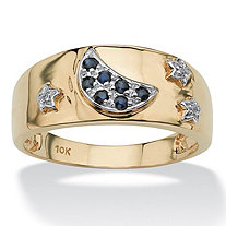 .23 TCW Round Blue Genuine Sapphire Diamond Accent 10k Yellow Gold Moon and Stars Ring