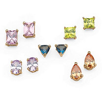 5 Pair 11.42 TCW Multi-Colored Cubic Zirconia Stud Earrings Set in Yellow Gold Tone
