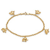 10k Yellow Gold Elephant Charm Bracelet