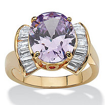4.69 TCW Oval Cut Purple Simulated Tanzanite Cubic Zirconia Accent 14k Yellow Gold-Plated Ring