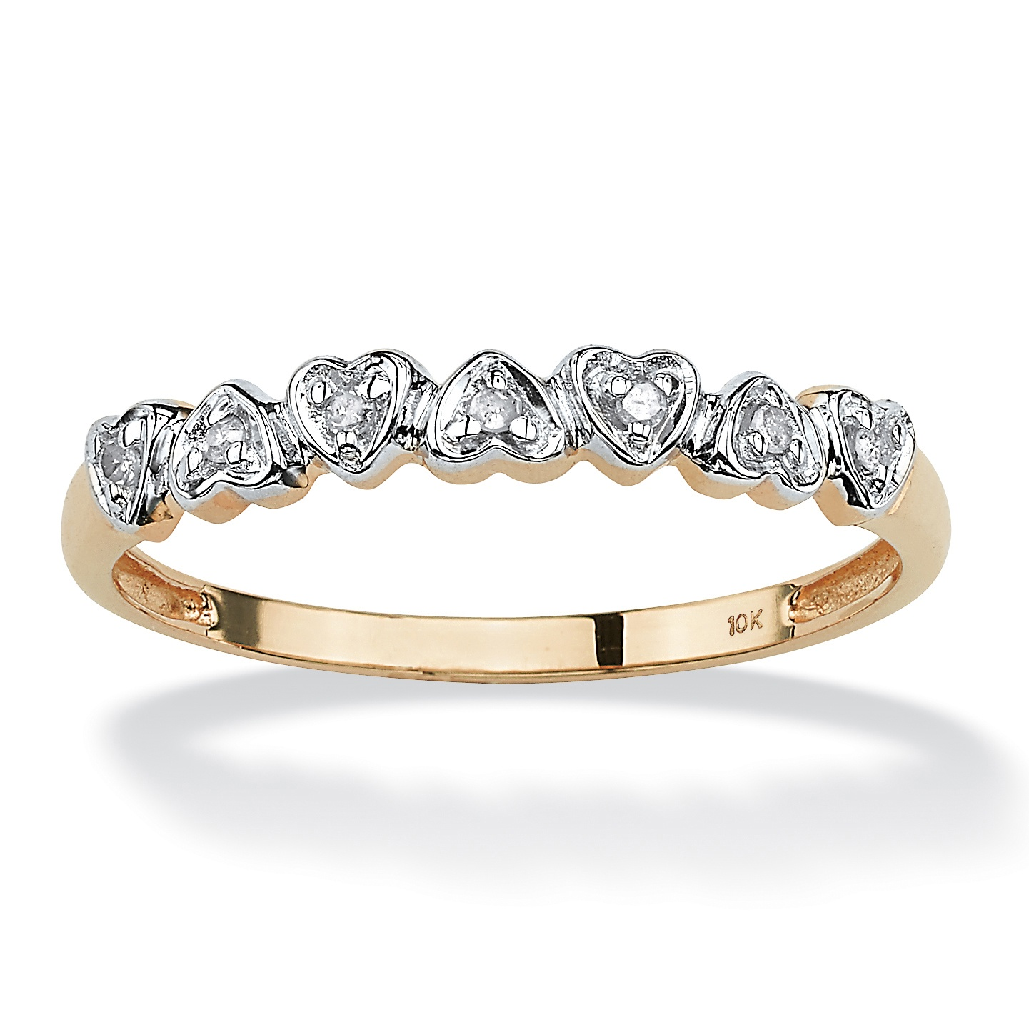 Jewelry diamond accent 10k gold multi heart promise band ring ebay