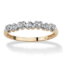 Diamond Accent 10k Yellow Gold Multi-Heart Promise Band Ring