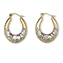 Elephant Hoop Earrings in Two-Tone 10k Gold