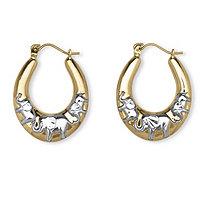Elephant Hoop Earrings in Two-Tone 10k Gold