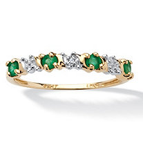 .32 TCW Round Genuine Emerald and Diamond Accent 10k Yellow Gold Band Ring