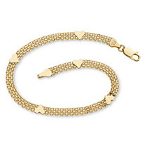 10k Yellow Gold Bismark-Link Heart Bracelet 7 1/4""