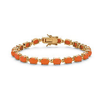 Oval Cut Genuine Coral 14k Yellow Gold-Plated Tennis Bracelet 7 1/2""