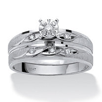 Diamond Accent 10k White Gold Two-Piece Bridal Engagement Wedding Ring Set