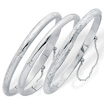 3 Piece Polished Engraved and Floral Bangle Bracelet Set in Sterling Silver