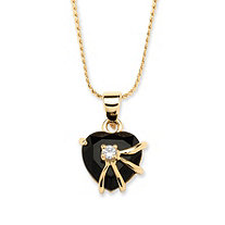 Heart-Shaped Genuine Onyx with Cubic Zirconia Accent 14k Yellow Gold-Plated Pendant 18""