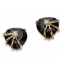 Heart-Shaped Genuine Onyx Cubic Zirconia Accent 14k Yellow Gold-Plated Stud Earrings