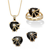 Heart-Shaped Genuine Onyx 14k Yellow Gold-Plated Pendant, Earrings and Ring Set