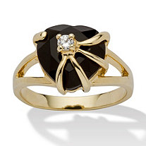 Heart-Shaped Genuine Onyx Cubic Zirconia Accent 14k Yellow Gold-Plated Cocktail Ring