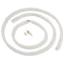 Cultured Freshwater Pearl Necklace, Bracelet and Earrings with14k Gold Clasp 18""