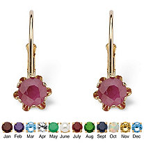 Genuine Birthstone 10k Gold Earrings