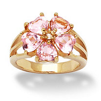 4.00 TCW Heart-Shaped Pink Cubic Zirconia 14k Yellow Gold-Plated Flower-Shaped Ring